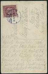 """Archiv E687 Karte (back) """"Ein verwundeter Held"""", Wien 1919 (Hans-Michael Tappen) Tags: wien sterreich stamps text karte ephemera 1919 1910s postkarte handschrift briefmarke poststempel 1910er archivhansmichaeltappen"""