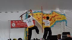 Broad Sword versus Staff (hansntareen) Tags: cambridge dancers kungfu dragonboatfestival2016
