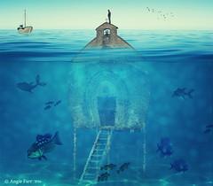 Underneath the Deep Blue Sea... (rubyblossom.) Tags: sea 3 church water swim boat steps platform sunken fishes challenge mii 2016 rubyblossom rubystreasures