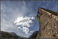 El cielo, las montaas y la torre (Fernando Fornis Gracia) Tags: espaa aragn huesca jaca canfranc jacetania contraluz nubes cielo montaa paisaje landscape
