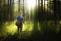 The Forest Song (Phillip Haumesser Photography) Tags: light boy portrait music sunlight playing green nature boys kids forest children fun kid woods child play natural magic mandolin adventure instrument imagination magical sunbeams philliphaumesser