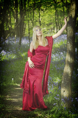 red in the bluebells (BarryKelly) Tags: blue ireland tree bells forest hair model dress path silk blonde satin wexford irelan