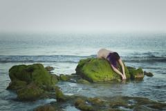 (SaraiDeza) Tags: ocean blue sea woman green art film beach nature beautiful photography photo moss rocks peace fineart creative conceptual corrubedo creativephotography conceptualphotography