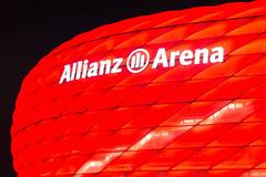 Stairway to Allianz Arena - Munich (fgazioli) Tags: travel red architecture night germany munich mnchen europe fuji soccer arena fujifilm eurotrip futebol allianzarena allianz fujix100s fujilovers