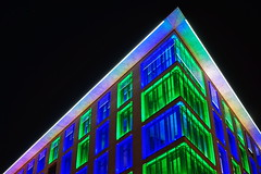 Blue & Green (stephan.hickisch) Tags: city blue roof light urban building green architecture night germany evening frankfurt main financial metropole