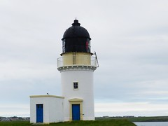 Arnish Point Lighthouse, Stornoway, Isle of Lewis, June 2016 (allanmaciver) Tags: arnish point lighthouse lewis western isles hebrides stevenson 1852 white tower light blue small stand guard grey skies remote lonely eerie walk allanmaciver