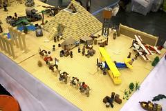 Pharaoh's Labyrinth Base Camp and Pyramid, Scouting For Bricks display, May 2013 (Gary^The^Procrastinator) Tags: truck 1930s treasure lego pyramid aircraft egypt mummy camels labyrinth adventurers pharaohs pt17 kaydet johnnythunder brickfair wa