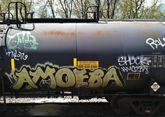 AMOEBA NK (BeautifulVandalism) Tags: minnesota train bench graffiti shock boxcar uc amoeba mn hopper freight tanker nk rollingstock may11 ntd benching nationaltrainday minnesotagraffiti mngraffiti