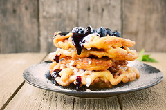 Orange & Blueberry Funnel Cakes (Claire Sutton) Tags: food orange cooking cakes dessert sweet blueberry syrup funnel funnelcakes batter