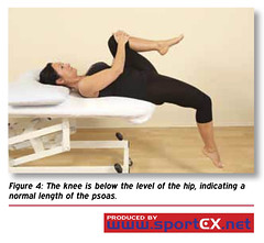 The knee is below the level of the hip, indicating a normal length of the psoas. (sportEX journals) Tags: mets rehabilitation gluteusmaximus gmax massagetherapy gluteal sportex sportsinjury sportsmassage sportexdynamics