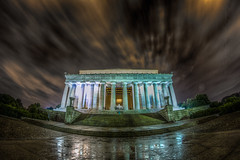 Lincoln Skies (yeahbouyee) Tags: nightphotography sky urban reflection architecture night clouds lights lowlight streetphotography naturallight landmark lincolnmemorial lowkey hdr washingtondcusa photomatix canoneos7d thechallengefactory lightroom44