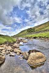 River Cover, Near Woodale, North Yorkshire, England (Chris Hall Photography) Tags: blue portrait sky rock canon river landscape high rocks skies dynamic angle yorkshire wide cover moors 24mm tamron range hdr northyorkshire 1024 10mm 500d woodale
