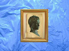 blue (hologram.:';::.) Tags: blue sculpture art collage vintage book photo picture rings frame photomontage