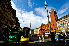 Basel City (johnlino) Tags: sky people house rot beautiful john de photography switzerland amazing day looking hunting wide creative tram basel busy lino traveler mello dmello 1024mm d300s