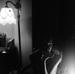 Night Owl (Nicholas den Haan) Tags: portrait people blackandwhite bw film halloween analog vintage noir kodak spooky hasselblad selftaught beautifulwomen 50s nophotoshop 120mm hasselblad500cm zeroediting