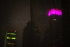 Bloomberg Building Pink for Breast Cancer Month (agnellina) Tags: newyorkcity pink red building green night dark blurry manhattan bloombergbuilding filtered project365