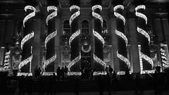 lit up for Christmas 02 (byronv2) Tags: lighting christmas blackandwhite bw building monochrome architecture bar club night lights blackwhite pub edinburgh christmaslights christmasdecorations pillars newtown georgestreet nuit neoclassical thedome edimbourg edinburghbynight