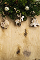 Christmas wooden background (gorobina) Tags: christmas new wood xmas old winter brown white holiday snow abstract tree texture nature horizontal pine bells vintage festive table wooden december branch pattern seasons symbol antique decorative background space board grunge year country seasonal group decoration nobody holly retro celebration card bow frame aged merry decor decorate plank copy