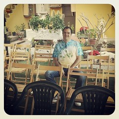 Rafa Ordoñez esperando a deleitarnos con sus historias en el Festival Internacional del #Cuentos2013 de #lossilos .. ¿te vienes?