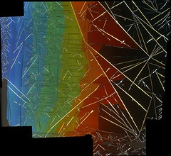 composite image stitched together from multiple photographs showing a crystal forming out of a grandjean aligned short pitch cholesteric liquid crystal (bio998) Tags: pictures blue abstract beautiful photography tv amazing soft pretty technology image display ben crystal photos fast optical science international illusion chemistry displays physics british benjamin trippy psychedelic hybrid lcd phase society microscope liquid bens microscopy matter switching polarization colloidal outram liquidcrystal polarizing ush ferrofluid beautyinnature softmatter ulh liquidcrystals blcs ilcc cholesteric ferroelectric smectic