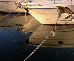 Diamond reflections (Rich3591) Tags: reflection boat still mediterranean calm delivery diamondshape challengeyouwinner cyunanimous sunseeker82