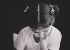 Homework [+5] [Explored] (marywilson's eye) Tags: portrait blackandwhite bw white black cute blanco girl beautiful beauty vintage lazo kid nikon pretty day child julia retrato negro daily retro nia linda buns bow fade bella homework 90mm hairstyle belleza deberes moos d700