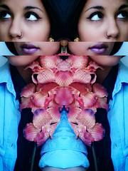 Deux (YasmineBoumaiz) Tags: pink blue selfportrait flower art double mirroir edit selfie