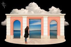 Uno sguardo sull'Utopia (Winter Guest [OFF]) Tags: windows clouds puerta gate nuvole fenster wolken ventanas nubes porte nuages cagliari fenetres finestre portale casteddudoor