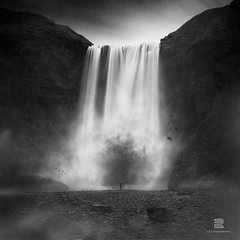 La colre du dragon (S.D.G Photographie) Tags: longexposure blackandwhite bw cloud bird art fall ice collage photoshop landscape photography blackwhite iceland artist cloudy fineart fine creative falls creation montage concept icy conceptual foss cascade chute bwphotography combination islande fineartphotography icelandic sdg skogafoss innovative inventive legende crea chutte legendes skoga creativeedit bigstopper sebastiendelgrosso