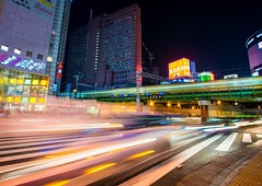 Shinjuku Rush (noExcuseG) Tags: longexposure travel car japan night train tokyo cityscape traffic jr busy rushhour shoppingcenter shijuku