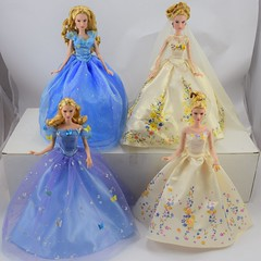 Cinderella Dolls - Live Action Movie - Disney Store and Mattel Versions (drj1828) Tags: blue wedding standing ball us amazon doll royal target cinderella groupphoto gown mattel disneystore fairygodmother posable 11inch deboxed liveactionfilm disneyfilmcollection