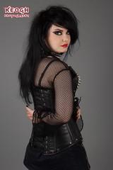IMG_4845 (Neil Keogh Photography) Tags: red girl leather rock metal punk fishnet corset lipstick collar zips spikes zip buckles spiked studioshoot fishnettights fishnettop demoniaboots borderfx modelhannah spikedbra