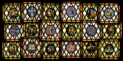 Stained Glass Medallions of Bloomington First Christian Church (Gregg Kiesewetter) Tags: church faith jesus symbols sermon sanctuary stainedglasswindows disciplesofchrist firstchristianchurch