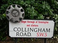 Collingham road (Ari in Aria) Tags: road england london mercedes strada cartello earlscourt londra