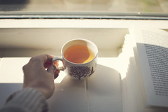 Sunlight, tea and Knausgrd's words (Laura Marianne) Tags: light window digital reading book moments quiet tea calm littlethings vintagecup sigma30mmf14 karloveknausgrd canoneos760d