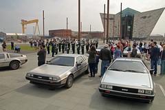 Titanic Gathering (12664) (jonathanclark) Tags: car spring automobile steel belfast gathering northernireland titanic delorean iconic slipway stainless titanicquarter belfastharbourestate