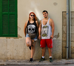 Doggy Style (Charles Hamilton Photography) Tags: people sunlight colours strangers streetphotography streetportrait style naturallight backstreet characters mallorca tattooed primelens peopleinthecity summercolour charleshamilton colourstreetportrait nikond7000