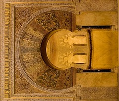 Mihrab (antoniobraza) Tags: travel detail art tourism architecture gold spain europe cathedral interior muslim islam prayer religion landmark mosque andalucia arabic moorish cordoba mezquita intricate mihrab
