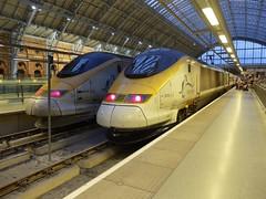 Evening Eurostars (wwatfam) Tags: railroad england london station saint speed train high eurostar britain trains international railways pancras 3104