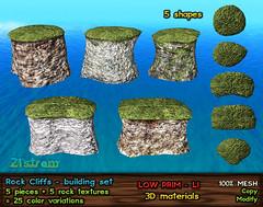 New Release at 21strom - Rock Cliffs Building Kit (zuza ritt) Tags: terrain cliff rock seaside border quay shore hedge skybox privacyscreen lowprim lowlandimpact secondlifemeshlandscape secondlifemeshrock