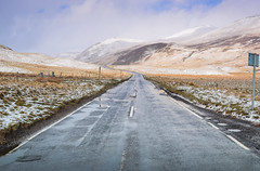 13 Road Home (daedmike) Tags: road autumn winter snow ice scotland highlands glenshee hills asphalt lookingback hillwalking tarmack