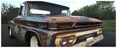 '65 GMC (daveelmore) Tags: panorama truck rust pickup vehicle gmc patina 1965 stitchedpanorama shoptruck mzuiko918mm