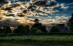 Sunset behind the clouds (mystero233) Tags: uk blue sunset sky cloud sun history church architecture clouds dawn nikon medieval d750