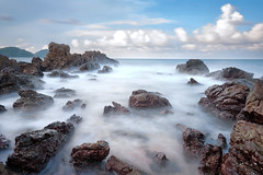 Long exposure of sea and rocks. Fog on the beach (jda watt) Tags: ocean blue sunset sea summer wallpaper cloud mist seascape abstract motion black beach nature water beauty rock fog stone dark landscape coast scary movement long exposure pattern view dusk sinister background scenic dramatic surreal wave scene shore romantic mystical dreamy relaxation magical magnificent fascinating