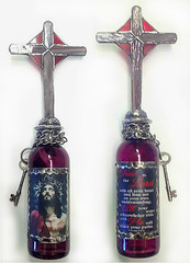 Altered Bottle with Jesus (Jazzie Menagerie) Tags: cross jesus stainedglass crucifixion resurection biblescripture soldered chainkey alteredbottle jazziemenagerie jesusisthekey