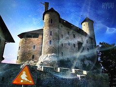 beware of the ghosts... (Ryuu) Tags: blue windows sky orange tree castle art texture souls sign architecture composition stars lights scary artwork funny rocks stones smoke ghost towers medieval architectural spooky kawaii horror stonewall ghosts plasma walls ghostly ghoul miasma lowpov medievalcastle bewareoftheghosts