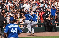 Moustakas and Gordon Collide (Brule Laker) Tags: chicago baseball southside mlb kansascityroyals uscellularfield americanleague chicagowhitesox