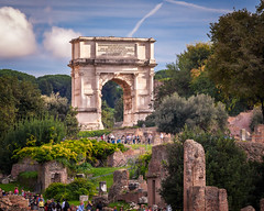 The Arch of Titus in Roman Forum, Rome, Italy (ansharphoto) Tags: old city travel blue summer vacation sky urban italy rome roma building green history classic tourism monument stone skyline architecture town bush italian ancient europe european cityscape arch symbol roman antique forum famous ruin culture landmark historic empire triumph imperial historical tito portal column archway marble archeology emperor titus triumphal