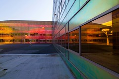 _DSC2229 (durr-architect) Tags: light sun colour reflection netherlands glass architecture modern facade offices almere dfense berkel unstudio