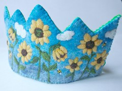 Handmade Sunflower Crown (BeneathTheRowanTree) Tags: wool felting handmade waldorf crown